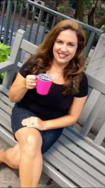 Me with pink cup of coffee
